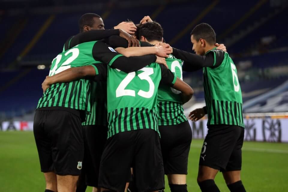 Piłkarze Sassuolo w meczu z Lazio